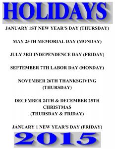 2015 holidays sch